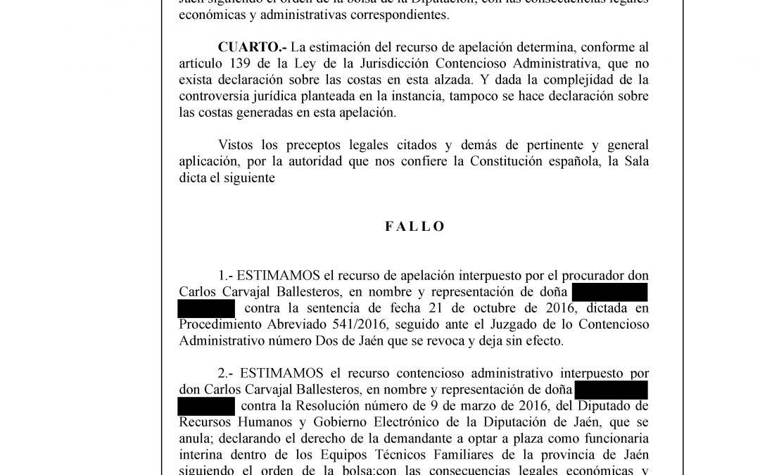 Una funcionaria defendida por Revelles Abogados obtiene Sentencia favorable revocando la del Juzgado de Jaén.