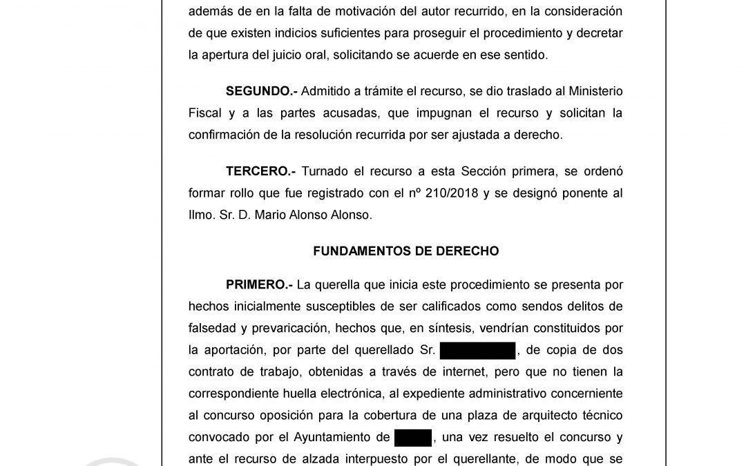 La Audiencia Provincial de Granada ratifica el sobreseimiento para otra Secretaria de Ayuntamiento defendida por Revelles Abogados.