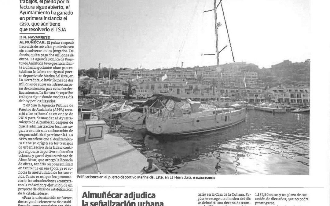 La Junta mantiene un pulso judicial con Almuñecar por unas obras de dos millones en Marina del Este